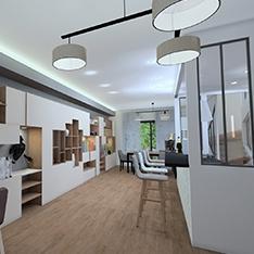 Aménagement au travers de vues 3D du nouveau modèle de maison d'un constructeur immobilier
