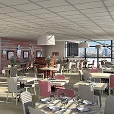 Propositions au travers de vues 3D de la décoration d'un restaurant en région parisienne